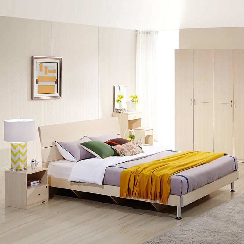 全友家居 床现代简约住宅家具卧室套装组合板式双人床 106302 床+床头柜*1+床垫 1500*2000