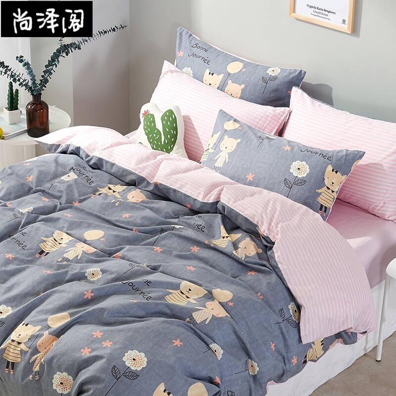 尚泽阁 简约韩式纯棉四件套卡通全棉床单被套床笠4件套1.8m1.5米床上用品 梦幻精灵 1.5m(5英尺)床 床笠款