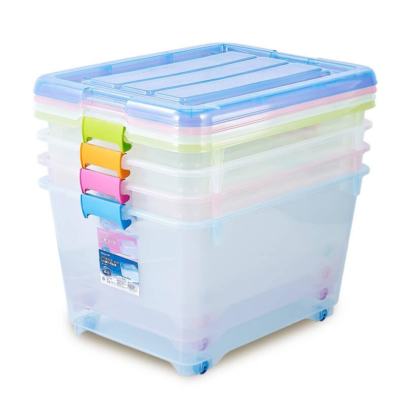 茶花塑料收纳箱大号整理箱收纳盒储物箱 特惠55L透明3个